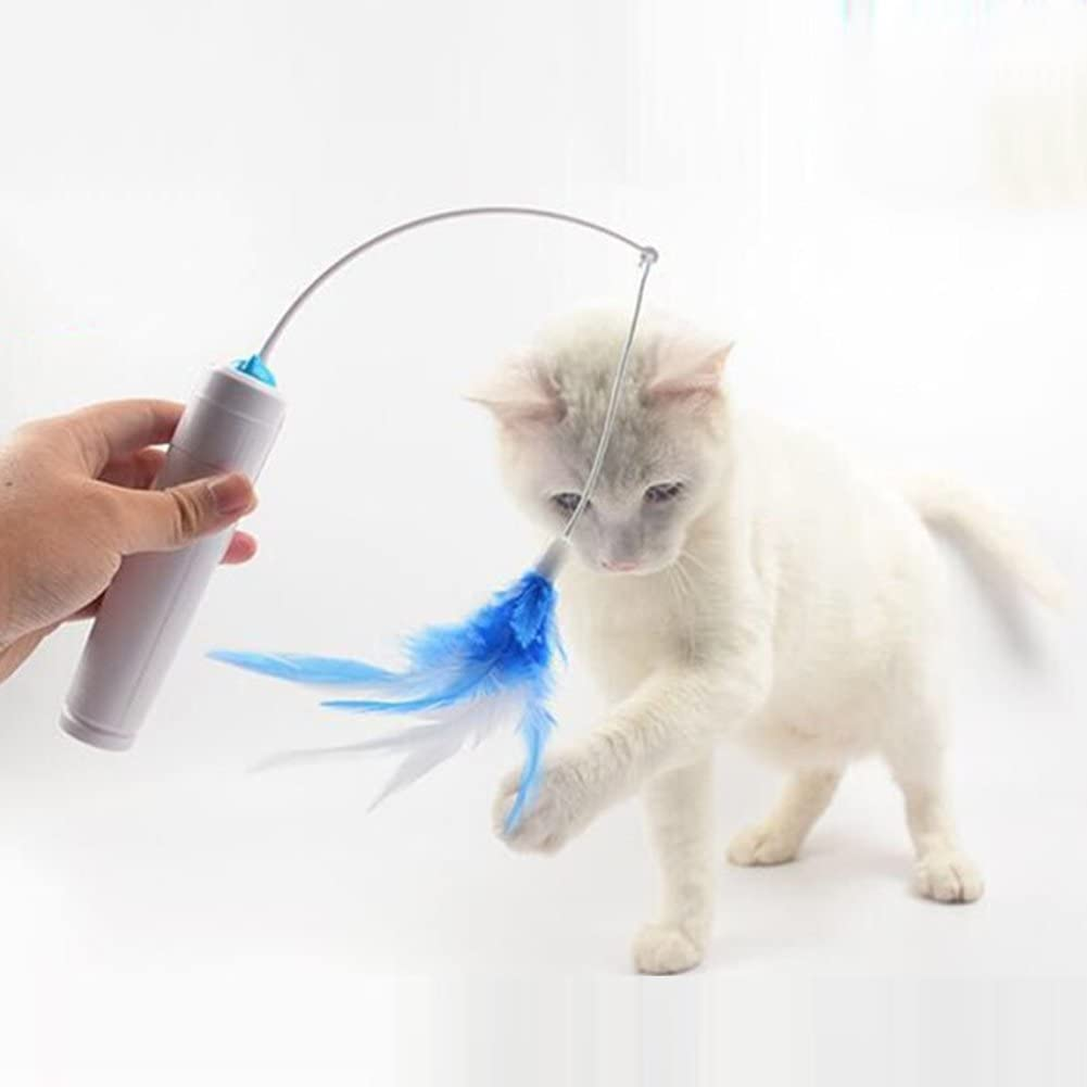 Blue Electric Wand with Replaceable Feather Rotating Interactive Entertainment Funny Toy Pet CVERY Cat Feather Teaser /& Track Toys 2 in 1