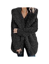 Srogem Womens Women's Warm Fluffy Faux Fur Winter Hooded Cardigan Coat Jacket Outwear
