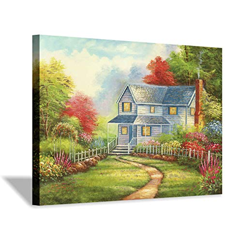 Forest Landscape Artwork Cottage Picture: Courtyard Garden Gold Foil Painting Print for Wall
