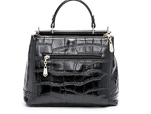 Otoño/Invierno XinMaoYuan Caracoles Bolsa de Embarque de mano femenina inclinada hombro bolsa bolso de la cremallera del cocodrilo de color sólido, negro Negro