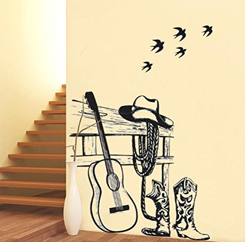 BIBITIME American Style Cowboy Hat Boots Silhouette Guitar Vinyl Sticker Swallow Wall Decal for Shop Window Showcase Living Room Decorations DIY 35.43