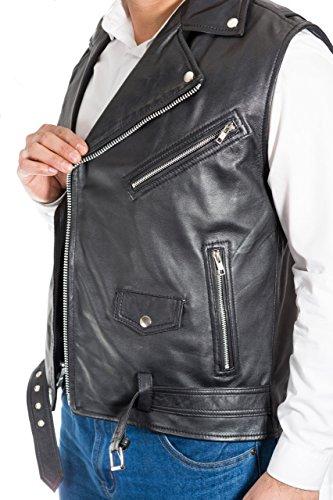 Nero Motociclista Stile Uomo Del Cuoio Giacca Elegante Gilet maniche Brando Equipaggiata wSR8CTq