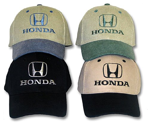 Honda Civic Hat (HONDA Fine Embroidered Adjustable Cap, Khaki/Black)
