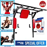 Wall Mounted Pull Up Bar and Dip Station with Vertical Knee Raise - Multi-Grip Chin Up Bar Dip Stand Power Tower Set - Home Gym Exercise Equipment for Men and Woman - Great for Workout and Fitness