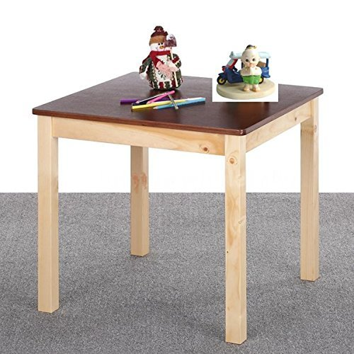 New Table Wooden Natural Pine Wood Colorful Activity Kids Play Home School Durable Color Espresso Size 28x26x55 Cm by Nice1159