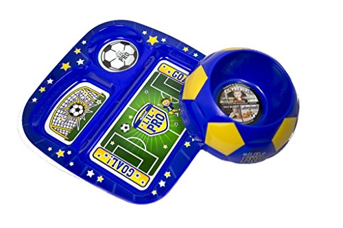 Lil Pro 1-30518 Soccerbowl Pet Feeding Set44; Blue