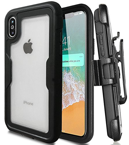 J.west Compatible with iPhone X Case, iPhone X Case With Built In Screen Protector Full body Heavy Duty Protection Shock Reduction Matte Clear Case with Belt Clip Holster Kickstand for iPhone X Black
