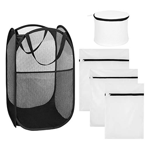 (Hapurs Mesh Pop-up Laundry Hamper,Foldable Laundry Basket + 4 Set Mesh Laundry Bags,Travel Storage Organize Bag, Zipper Wash Bag for Baby Clothes, Blouse, Hosiery, Stocking, Underwear, Bra)