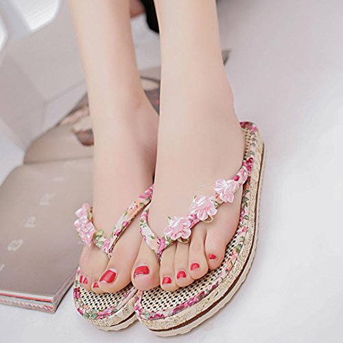 Transer Ladies Floral Flower Decor Flat Slippers - Women Summer Roman Sandals Comfortable Beach Shoes Casual Pink 1mZgbP