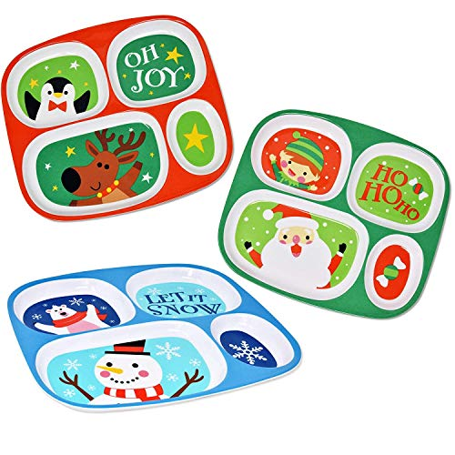 Section Melamine Christmas Plates for Kids- Children's Divided Holiday Kitchen Dinnerware 6 Pack for Baby Toddler Child Dishes Red Green & Blue, Santa Snowman Reindeer Penguin Polar Bear & Elf Designs