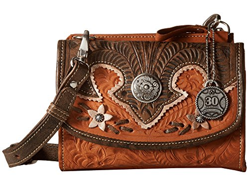 American West Women's Desert Wildflower Crossbody Bag/Wallet Golden Tan/Distressed Charcoal/Cream One Size