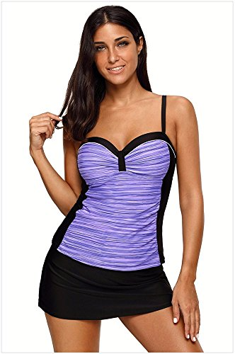 conservatore costume Costume Bikini con Bikini Bagno da diviso donne da bagno da cinturino Costume anello acciaio purple GK Skort Bikini donna bagno delle piatta Swimsuit Set UHWq6Ud