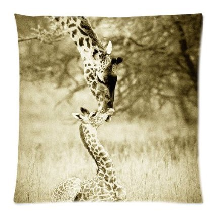 Vintage SAFARI BABY ANIMALS Giraffe African Wildlife Throw Pillow Case Cushion Covers Square 18x18 Inch Some Done New Arrive Pillow Cases