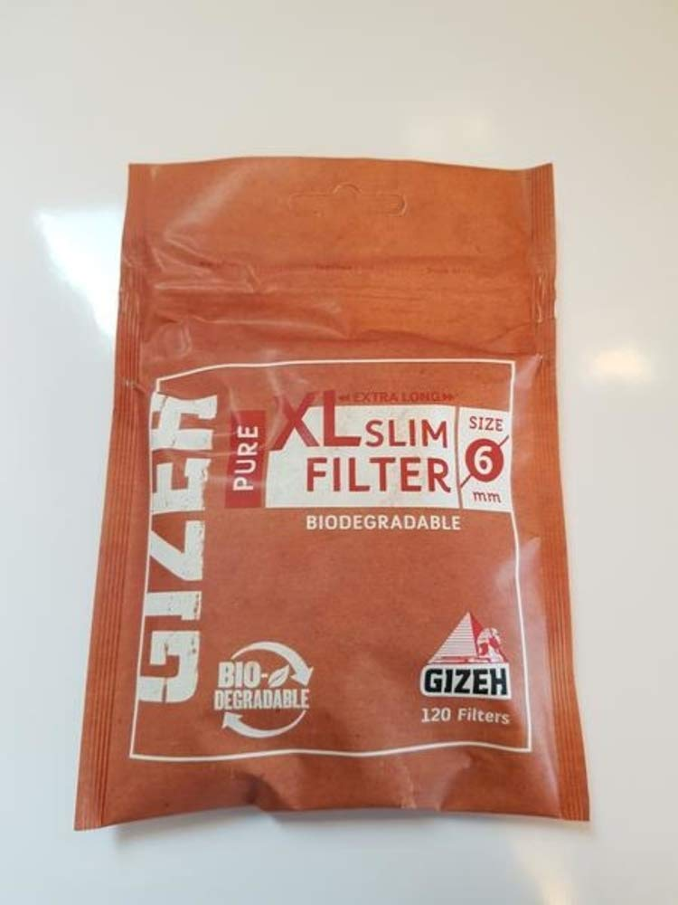 Gizeh Pure Slim Filter Tips Biodegradable XL 6/19mm Full Box 10x120 Bags