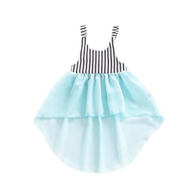 Timall Toddler Infant Baby Girls Summer Striped Dress Princess Swallowtail Party Dresses
