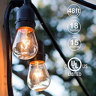 ADDLON 48ft Outdoor String Lights Commercial Great Weatherproof Strand 18 Edison Vintage Bulbs 15 Hanging Sockets, UL Listed Heavy-Duty Decorative Café Patio lights for Bistro Garden Wedding Malls