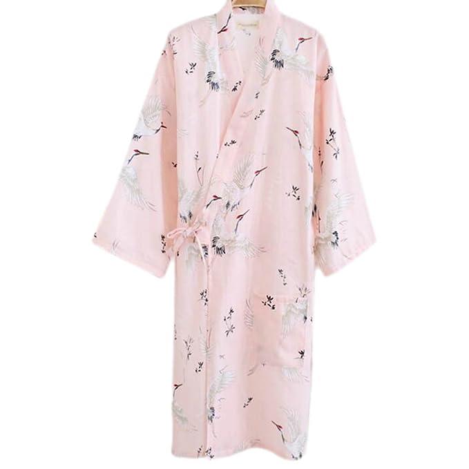 Black Temptation Mujeres de Estilo japonés de algodón Delgado de Albornoz Pijamas Kimono Falda Vestido-