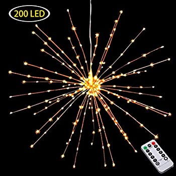 Hanging Decor Lights,200 Led Battery Powered Fairy Lights, Fireworks Light with Remote Control, Waterproof Starburst Lights for Gardens Courtyards Porches Christmas Festive Wedding Parties