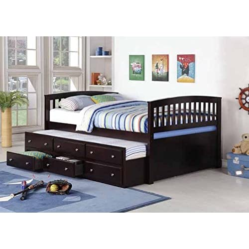 Brand New 13pc Slats Full Size Captain Bed in Espresso Finish with Trundle & Storage 80x58.5x39H