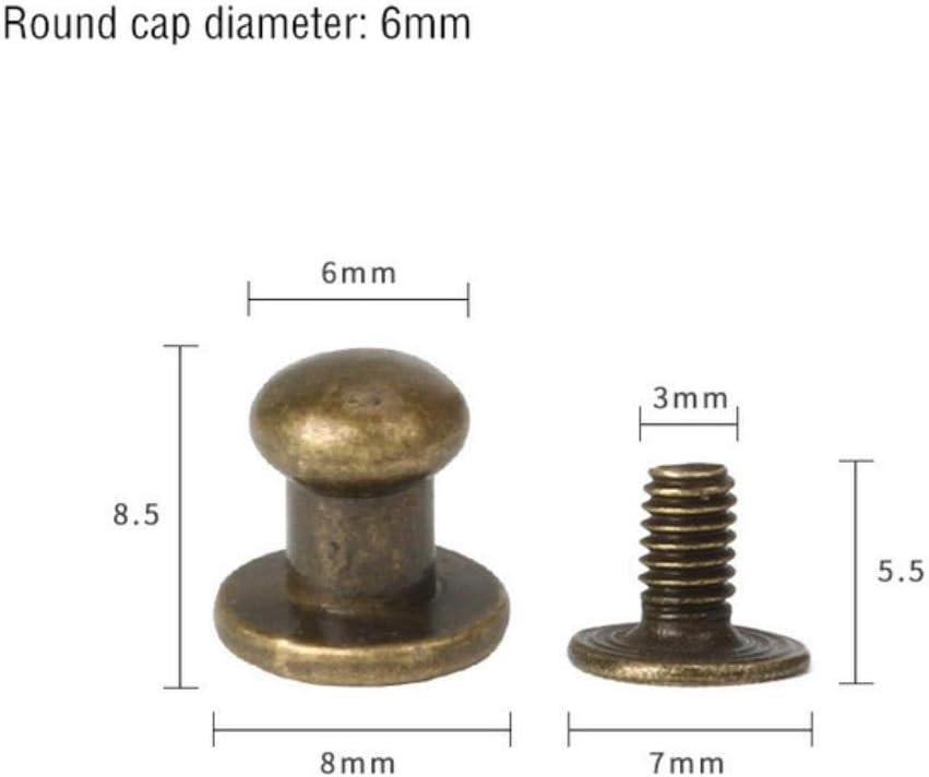 20 S/ätze Bronze M/önchkopf 6mm 20-50 S/ätze Metalllegierung Knopfschraube Nieten Bolzen DIY Crafts Lederg/ürtel Uhrenarmband Runder M/önchkopf Nieten Dekor Nagelschnallen