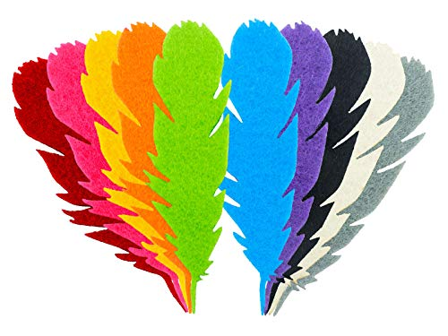 Summer-Ray 50pcs Mixed Color Felt Feather Laser Cut Embellishment Value Pack