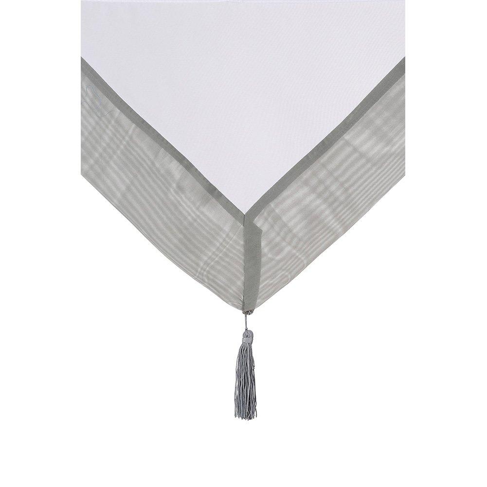 NECOHOME Voile Bistrogardinen mit Quaste Transparent Wei/ße Scheibengardinen mit Farbiger Blende Schlaufen Dreieck Raffrollo 1er Pack orange, 60x140cm