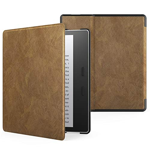 MoKo Case Fits All-New Kindle Oasis (9th and 10th Generation ONLY, 2017 and 2019 Release), Premium Ultra Lightweight Shell Cover with Auto Wake/Sleep - Dark Brown
