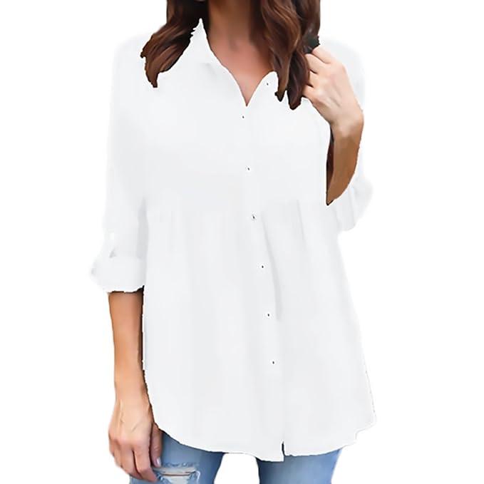 design senza tempo 9d4f6 e70ad Saoye Fashion Camicia Donna Elegante Manica Lunga Bavero Single ...