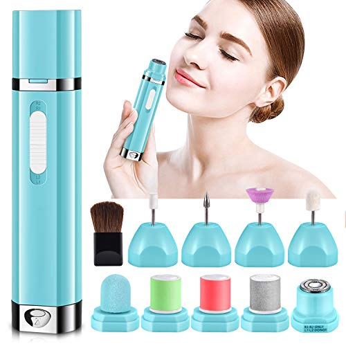 Facial Hair Removal Razors for Women with Nail File Drill Bits, Electric Shaver Flawless Painless Hair Remover, Lady Face Epilator Body Hair Trimmer Kit for Sensitive Upper Lip, Peach Fuzz,Legs,Bikini