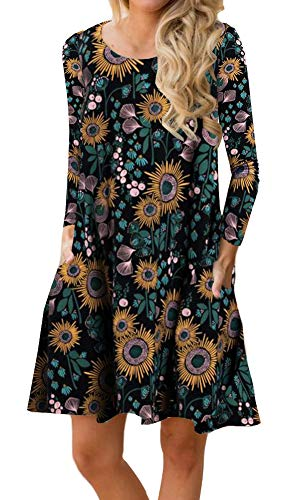 ETCYY Women's Long Sleeve Floral Printed Casual Swing T-Shirt Dress with Pockets