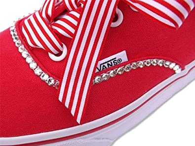 Vans Women s Stunning Authentic Crystallised With Swarovski Crystals Red  Size 8 1f8d948e5e0d