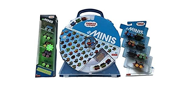Amazon.com: Thomas & Friends Mini Collectors Playwheel Carrying Case with 7 Minis & 5 Glow in the Dark Minis Bundle: Toys & Games