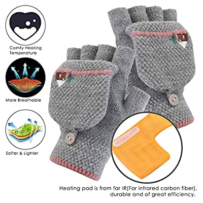 Heating Gloves,Gallity Women Men USB Heated Mitten Half Finger Winter Warm Knit Hand Gloves with Covers