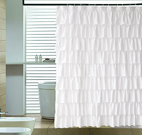 Ruffle Shower Curtain Fabric | Water- Repellent, Soft Polyester, Decorative Bathroom Accessories for Men & Women | Vintage, Elegant, Classic | Great for Showers & Bathtubs |Large Size, 72