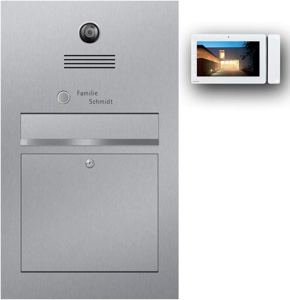 z-e-d Briefkasten Comelit Videosprechanlage Edelstahl B3V Maxi (Beschriftung Direkt) - Briefkasten Türsprechanlage