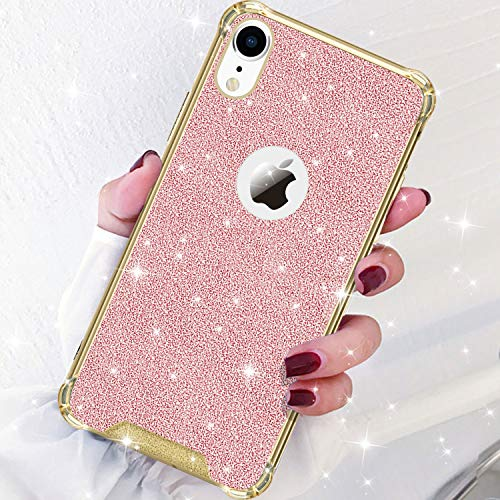 - DAUPIN Compatible for iPhone XR Phone Case Protective Defender Thin Slim Clear Bling Glitter Shockproof Cases Hard Back Plastic Gold Edge Cover for Women Girls for iPhone XR 6.1 inch (Rose Gold)