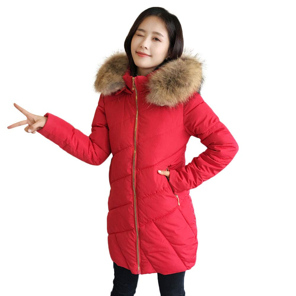Womens Jacket Plus Size Liraly Fashion Classic Winter Slim Fit Casual Hoodie Coat Coat Jacket Long Outwear(Red,US-10 /CN-XL)