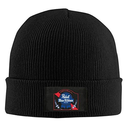 Black Ribbon Beer - Pabst Blue Ribbon Beer Logo Skull Hats Knitted Cap Beanie Black for Mens & Womens