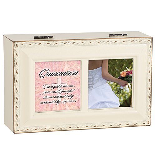 Quinceanera Ivory with Gold Trim Jewelry Music Box Plays Tune Ave Maria