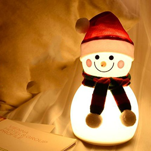 New Silicone Snowman Night Light USB Rechargeable Touch Switch Table Desk Optical Illusion Lamps 7 Color Changing Lights LED Table Lamp Xmas Home Love Brithday Children Kids Decor Toy Gift (women)