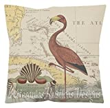 British Colonial Pillow 100% Cotton Canvas & Burlap Old SE Map Flamingo Caribbean Colonial Throw Pillow Cover Euro Sham