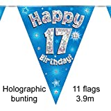 Happy 17th Birthday Blue Holographic Foil Party Bunting 3.9m Long 11 Flags