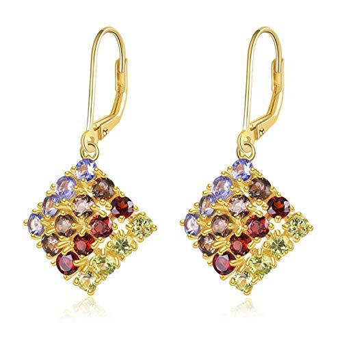 Bnialaed Dangle Earrings Hutang Multi Gemstone Drop Earrings Natural Tanzanite Peridot Garnet 925 Sterling Silver Romantic Fine Jewelry For Women's Gift ()