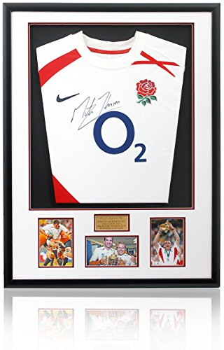 Martin Johnson hand signed Framed England Rugby Jersey