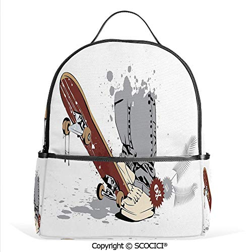 All Over Printed Backpack Skateboard with Boy Feet in Sneakers and Jeans Illustration,Grey Cream Chestnut Brown,For Girls Cute Elementary School Bookbags
