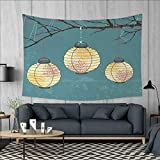 Anniutwo Lantern Home Decorations for Living Room Bedroom Three Paper Lanterns Hanging on Branches Lighting Fixture Source Lamp Boho Wall Tapestry W80 x L60 (inch) Teal Light Yellow