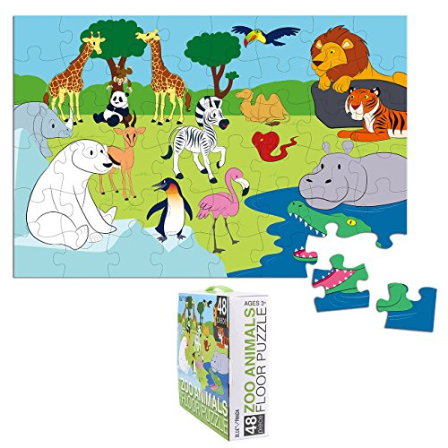 Floor Puzzles – 48 Piece Giant Floor Puzzle, Zoo Animals Jumbo Preschool Jigsaw Puzzles, Floor Puzzles for Kids Ages 3-5, 1.9 x 2.9 Feet