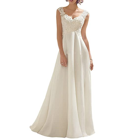 3074d05de116 ABaoWedding Women Chiffon V Neck Long Wedding Dresses Lace Bridal Gown   Amazon.co.uk  Clothing