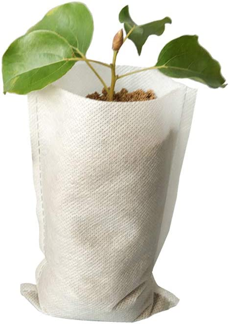 Frjjthchy 500 Piece Biodegradable Non-Woven Nursery Grow Bags Seedling-Raising Bags White (3.94x4.72 in)