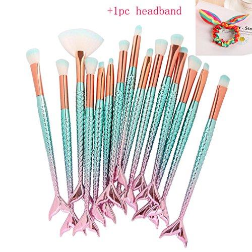 Mermaid Makeup Brushes Set, Scofieldly 2018 Chubby Fish Foundation Brush with Box 15pcs Soft Nylon Bristles Beauty Make Up Kits Face Blush Concealer Eye Lip Cosmetic Tools - Green ()